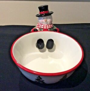 HARRY-amp-DAVID-2007-SNOWMAN-w-SCARF-TOP-HAT-CANDY-DISH-SNCK-BOWL-CHRISTMAS-TREES
