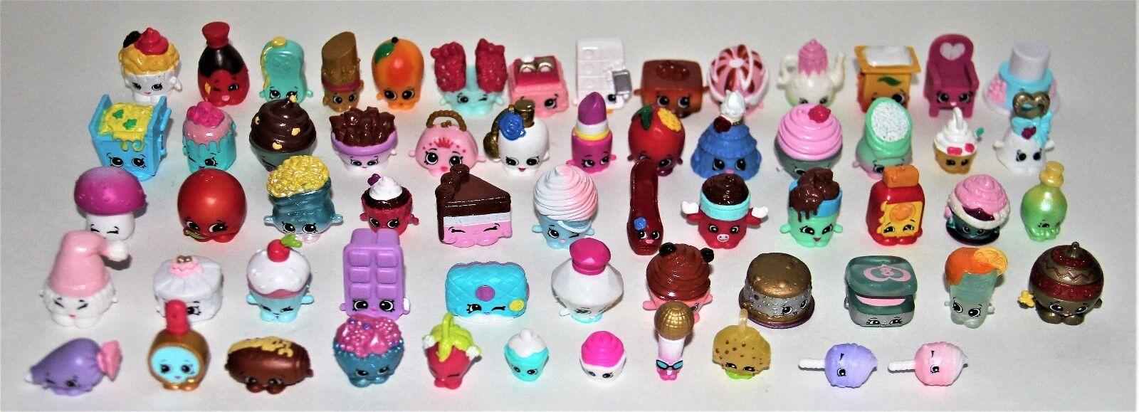 Shopkins Figurines Lot of 60 Various Sizes colors Faces