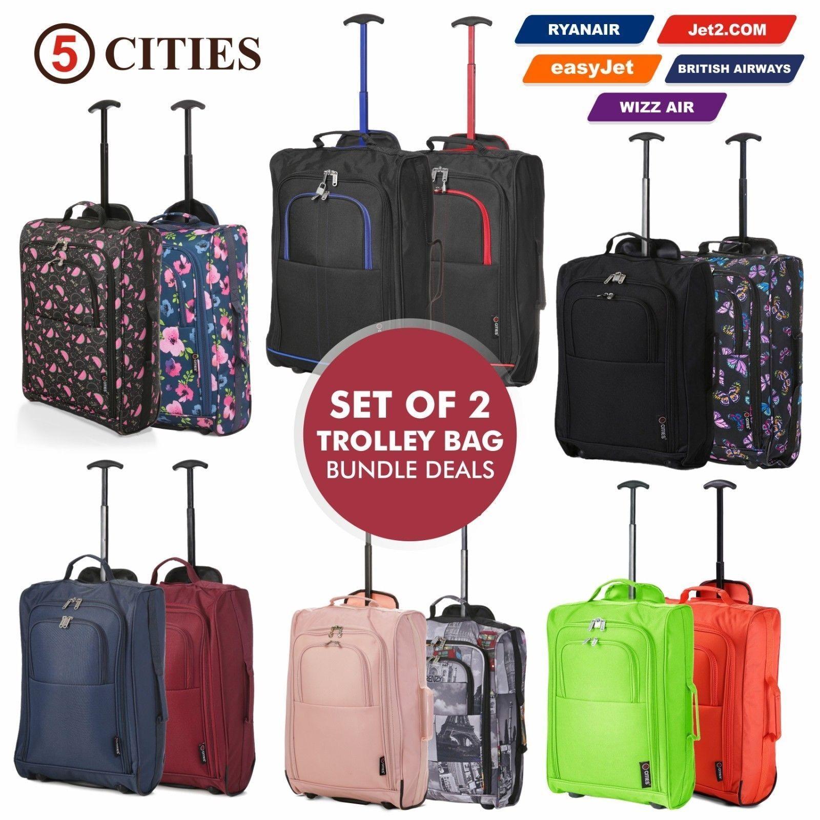 7fc70f428 Juego de 2 bolsas de viaje de equipaje de mano con equipaje de mano  superligero con carro