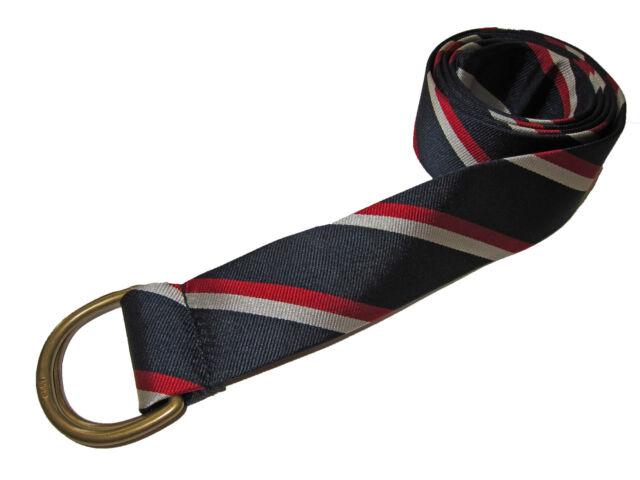 Polo Ralph Lauren Striped D Ring Grosgrain Ribbon Belt in Size S,M,L  in Red