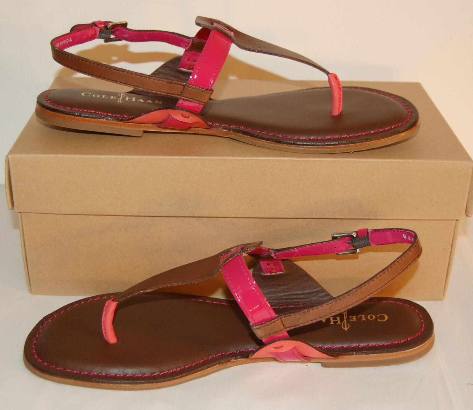 New 158 8.5 Cole Haan Bridget Thong 8.5 158 B Sandale Strap Chestnut Braun Pink Shrimp 88bfa8