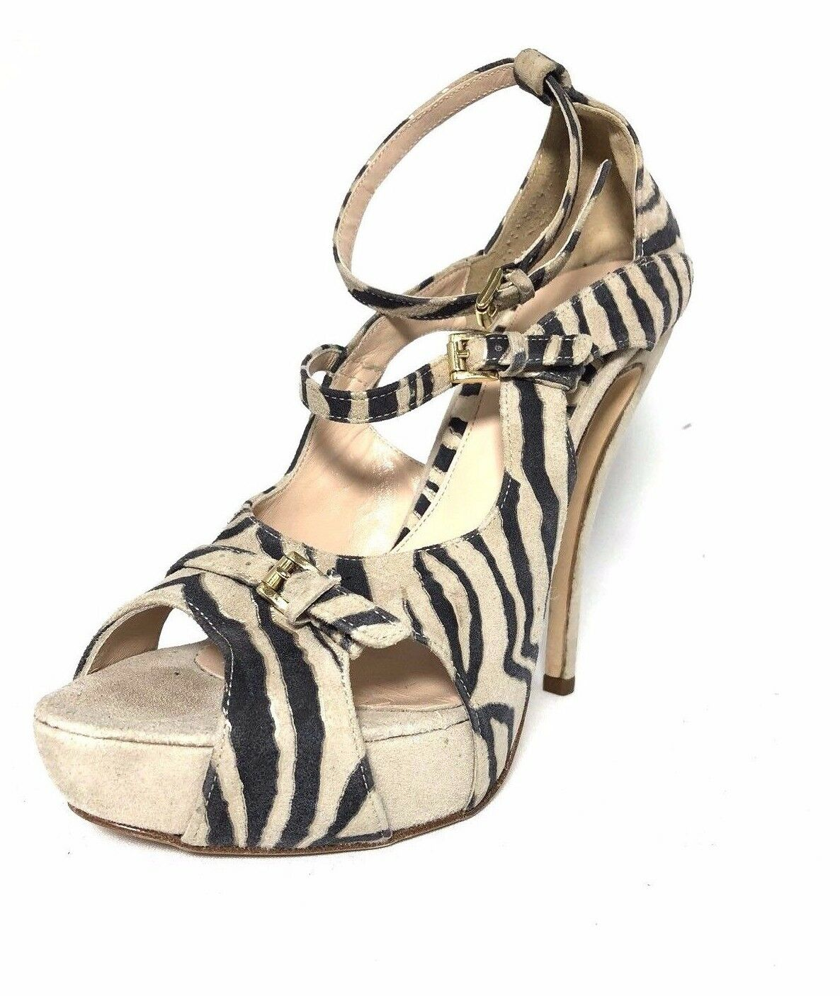 produttori fornitura diretta    345 Charles David Pump Platform Ankle Strap Open Toe Beige Zebra Heels US 9  classico senza tempo