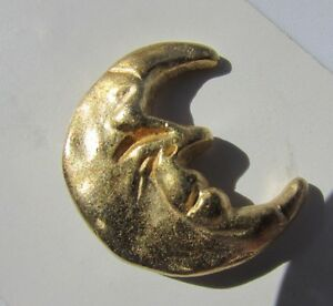 Vintage Realistic Button Brass Man in the Moon Todd Oldham Design Rare Streamlin