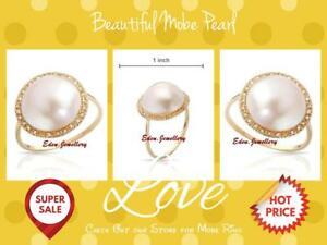 US-800-Beautiful-Dainty-Ring-GENUINE-Diamond-amp-MOBE-Pearl-Yellow-Gold-80-OFF
