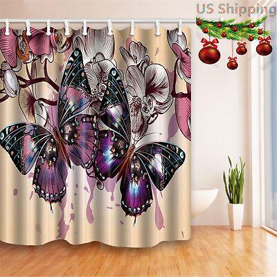 "71X71/"" Romantic Flower Butterfly Shower Curtain Waterproof Bathroom Mat /& Hooks"