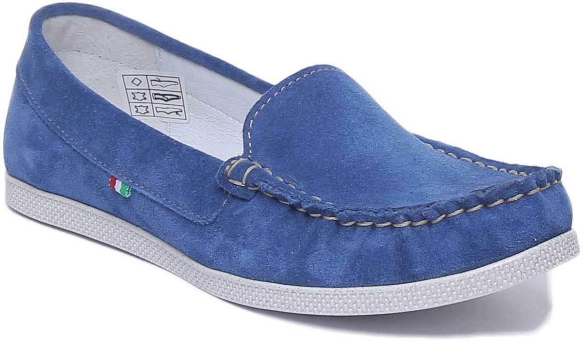 Justin Reece England Nita donna Casual  Slip On Sue scarpe blu Dimensione UK 3 - 8  compra nuovo economico