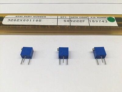 5 pcs 3262X-1-105  Bourns Trimming Potentiometer 1meg Ohms 250mW