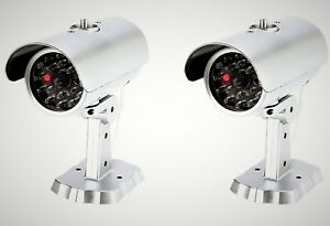 Mitaki-Japan-SET-of-2-Dummy-Fake-Bullet-Security-Camera-With-Blinking-Red-Light