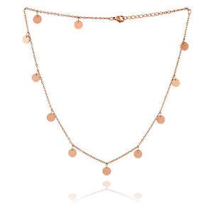 Halskette-Damen-Halsketten-Rosegold-Muenze-Rund-Scheibe-Plaettchen-Choker-Kette