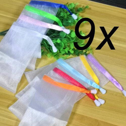 9x Seifensäckchen Seifennetz Nylon Seifensack Seifenbeutel Seifenrestebeutel DE