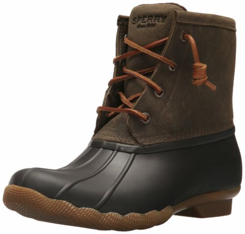 Sperry Women/'s Saltwater Rain Boot Brown//Olive