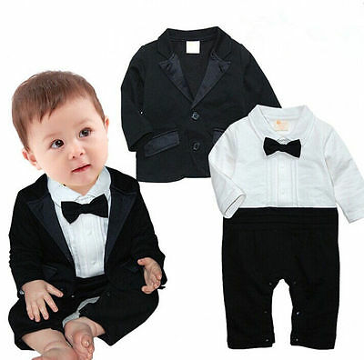 2pcs Kids Baby Toddler Boy clothes Coat+Romper Bodysuit  Set Clothing Gentleman