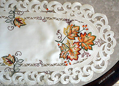 """AUTUMN GLORY 27"""" Doily Table Runner Lace Fall  Maple Leaf  Autumn Leaves"""