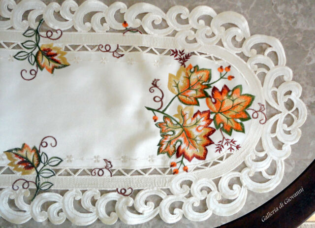 """AUTUMN GLORY 44"""" Doily Table Runner Lace Fall  Maple Leaf  Autumn Leaves"""