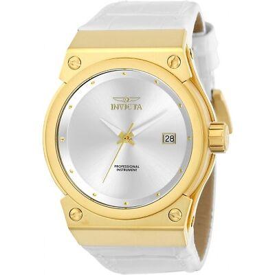 Invicta Women's Akula Quartz 100m Gold Tone S. Steel White Leather Watch 24462