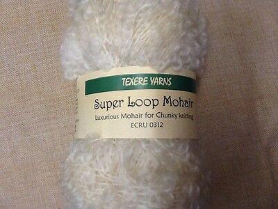 100 grams  Super Loop Mohair for Chunky Knitting Ecru/Cream  96% Mohair