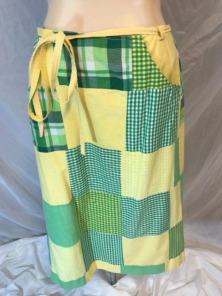 Vtg 1970s GT Boston Wash N Wear Wrap Around Skirt Multi Farbe Patchwork OSFA