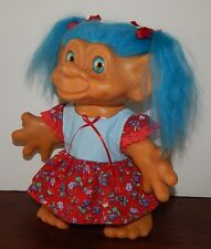 1964 Dam Iggy Normous Troll Doll New dress New blue eyes New Blue hair 11""