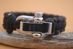 PARACORD-Black-550lb-Survival-Bracelet-w-adjustable-stainless-buckle-shackle