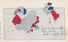 Antique COMIC POSTCARD c1907 Fallen Woman Ice Skating Down at the Rink 17345