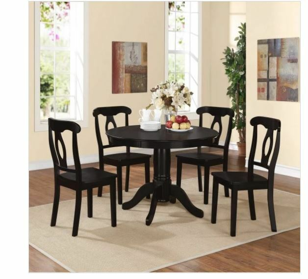 5 Pc Dining Room Set Table Chairs Solid Wood Round Cottage Style Kitchen  Black