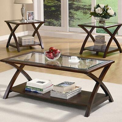 Brown 3 Piece Living Room Table Set
