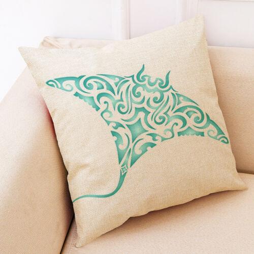 "18/"" Manta Ray Print Cotton Linen Sofa Home Decorative Pillow Case Cushion Cover"