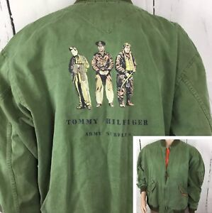 Details about Vintage Tommy Hilfiger Bomber Jacket Army Surplus Flight Retro 90s Spell Out XL