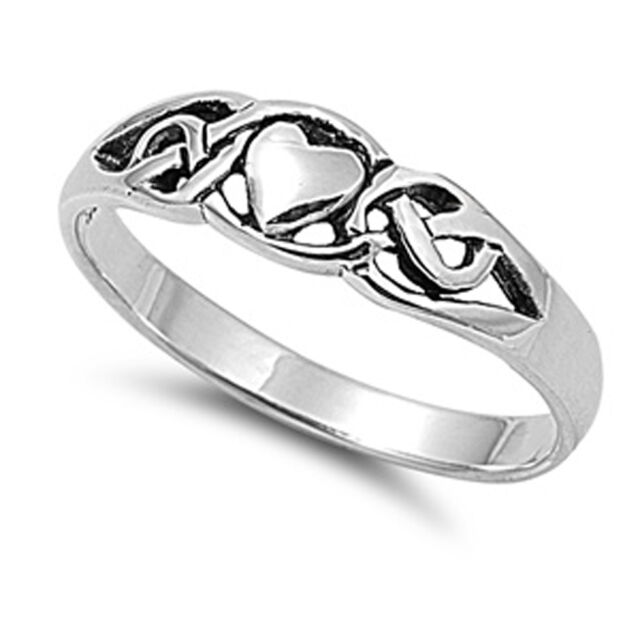 Sterling Silver Woman's Thin Simple Heart Ring Promise 925 Band 6mm Sizes 4-10