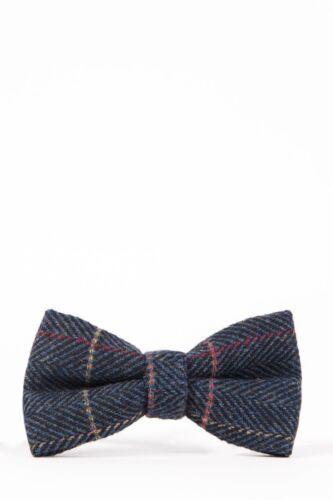 Mens Check Tweed Bowtie Herringbone Wool Look Peaky Blinders Vintage Style