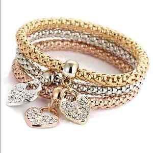 A-Set-Of-Gold-Silver-Plated-Lady-Girl-Rhinestone-Pendant-Three-Fashion-Bracelets
