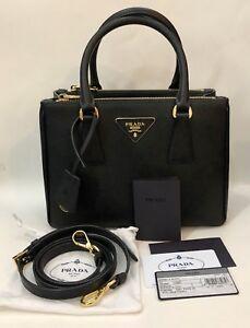 cb673b5b71cd Authentic! Prada Saffiano Lux Double Zip Mini Black   Gold Tote Bag ...