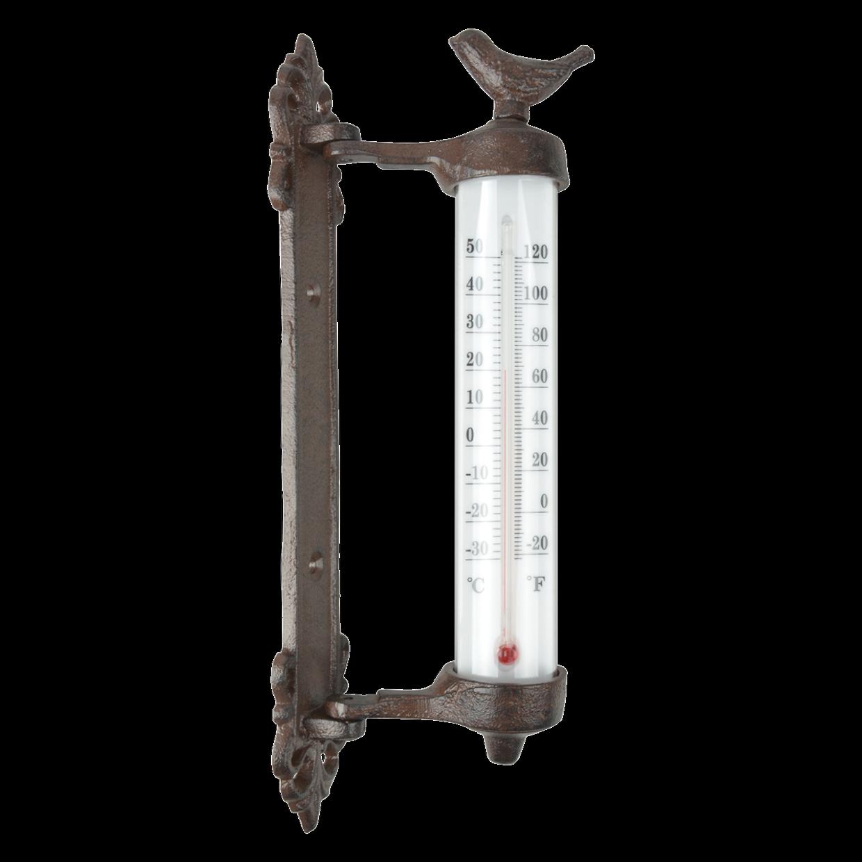 Rustic Wall Thermometer Bird Cast Iron Ornate Indoor Outdoor Garden 27cm Decor