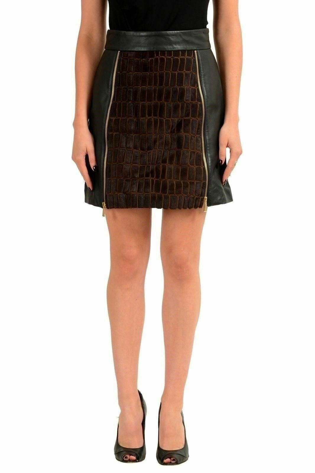 Just Cavalli Women's Leather Pony Hair Mini Skirt US 4 IT 40