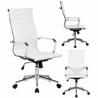 GTP Modern Ribbed Leather Office Chair Ergonomic with High Back (Black or White)
