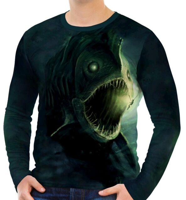 Fish Monster Men's Long Sleeve T-Shirts S M L XL 2XL 3XL