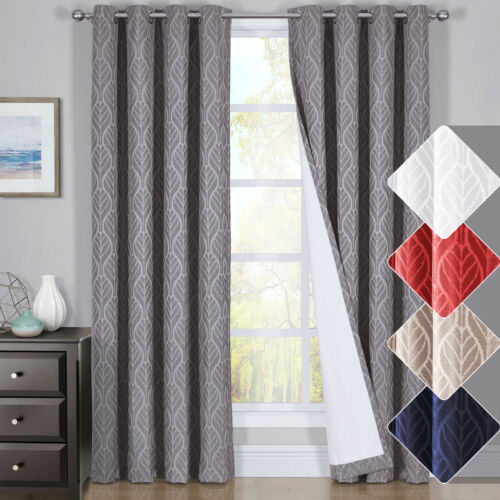 HILTON Window Treatment Thermal Insulated Grommet Blackout Curtains //Drapes PAIR