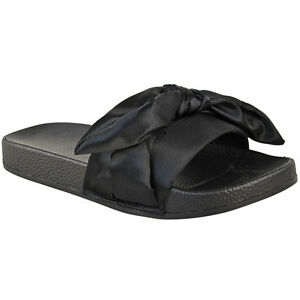 54923cc2dde6 Details about Womens Ladies Bow Sliders Sandals Flat Comfy Slides Slippers  Satin Summer Size