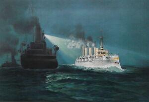 GERMAN-NAVY-Dispatch-Boat-Wacht-amp-Cruiser-Augusta-1899-SUPERB-Color-Print