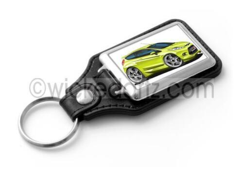 WickedKarz Cartoon Car Ford Fiesta MK7 Zetec S in Squeeze Green Stylish Key Ring