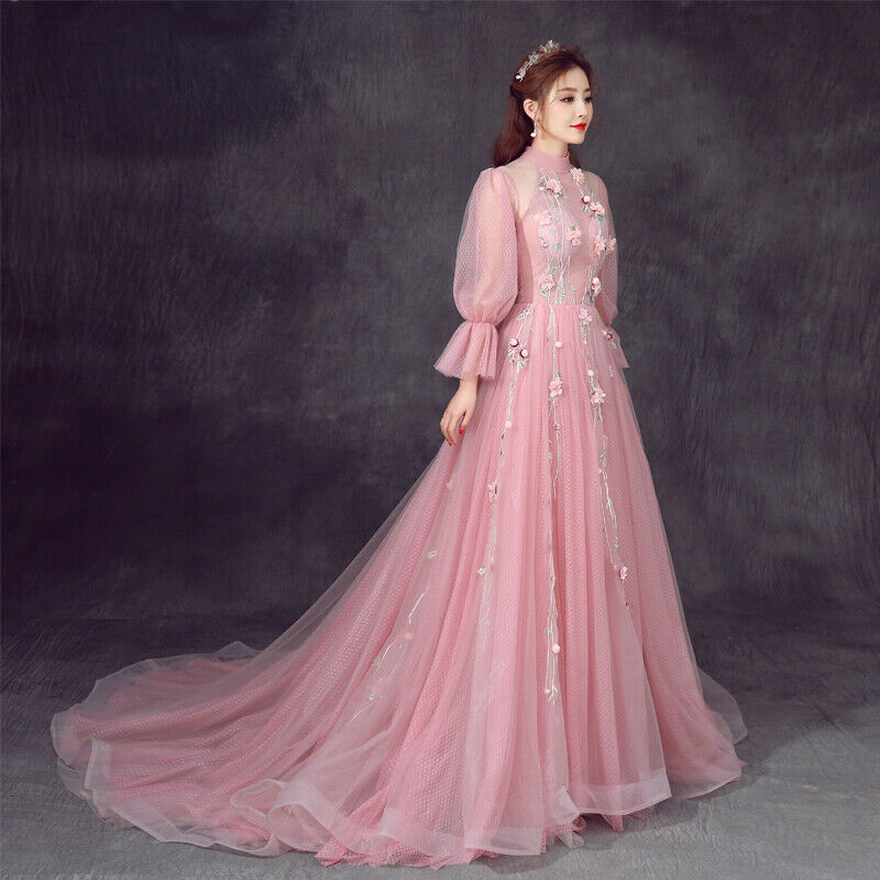 femmes rose Prom Party Pageant Cocktail Gown Petals Bra Formal mariage Robe nouveau