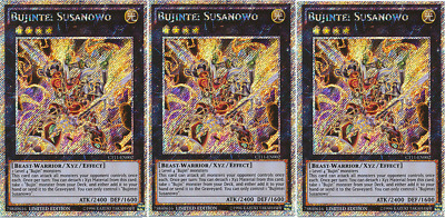 YUGIOH 3x Bujintei Susanowo Platinum Secret Rare CT11-EN002 Limited Edition