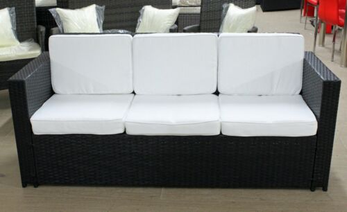 Brand New Luxury Rattan 3 Seater Sofa in Black with Beige Cushions