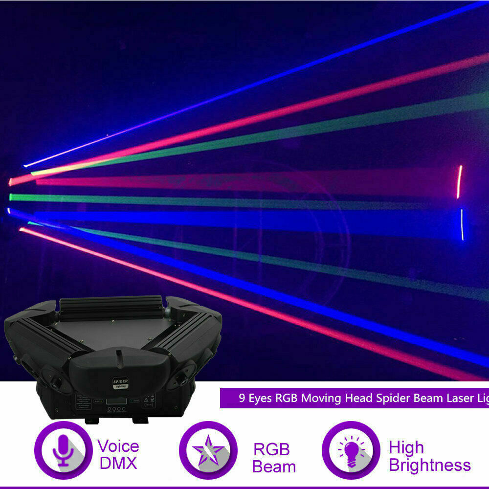 9 Eyes RGB Moving Head Spider Beam Laser Projector DMX DJ Show Stage Lighting Yc