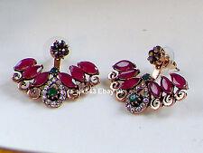 Bollywood Jewellery,Indian ethnic cuff earrings,Polki Ruby jhumka Bali,climbers