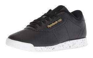 Reebok-Classic-Princess-Black-White-Gold-Womens-Running-Tennis-Shoes-BS7754