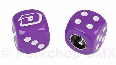 Dyno solid logo old school BMX bicycle tire Schrader valve DICE caps PAIR BLACK