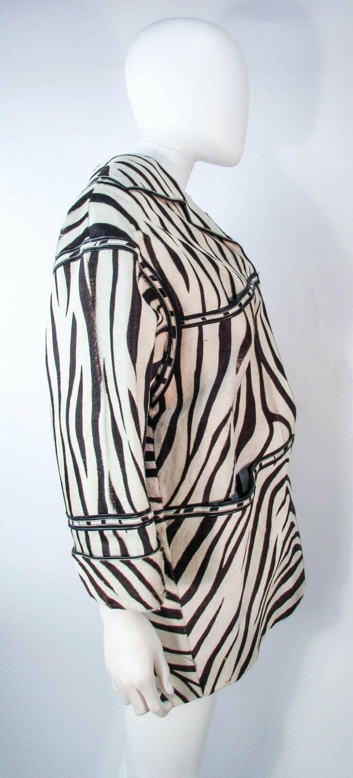 AMEN WARDY Zebra Pattern Cowhide Coat Size 4-8 - image 7