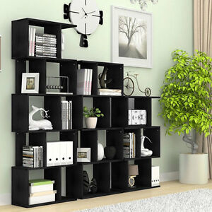 Image Is Loading Home Furniture S Shape Storage Display Wood Bookcase