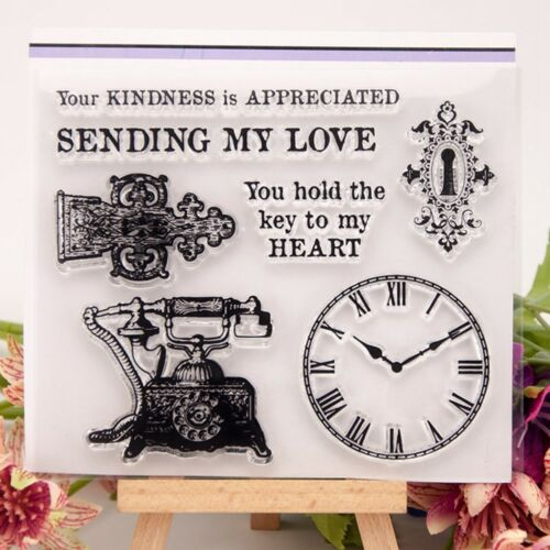 Vintage Telephone Clear Silicone Rubber Stamp Cling DIY Scrapbooking Card CG